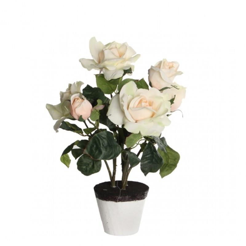 Trandafiri artificiali in ghiveci H40 Cream