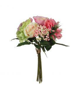 Flori artificiale in buchet Rose - Pink 30 cm