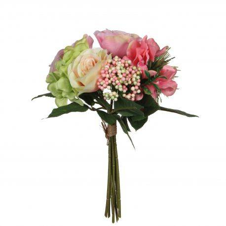 Buchet flori artificiale 30 cm Rose - Pink